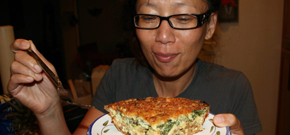 Jenny loves my fresh homemade quiche.
