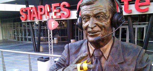 Chick Hearn statue holding my bling