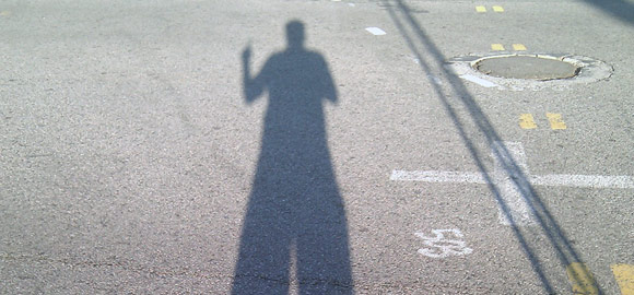Terry's shadow after the race