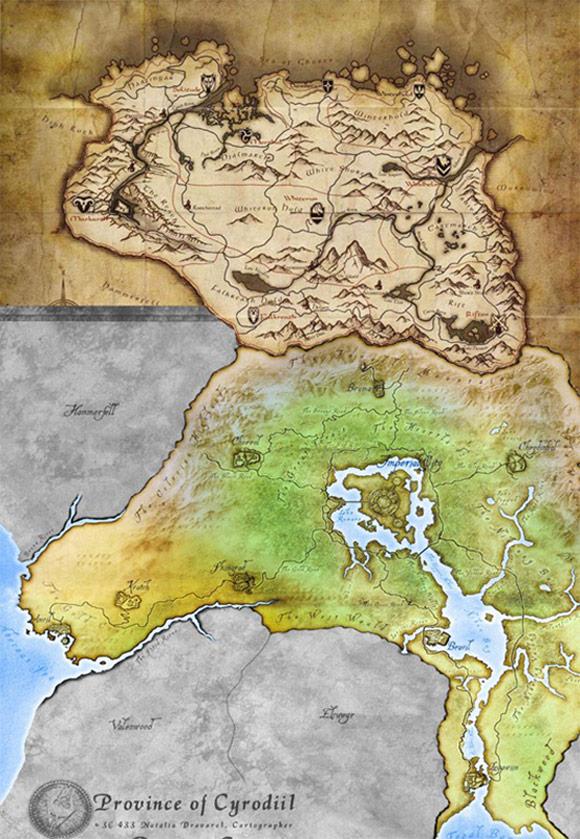 Cyrodiil Skyrim Combo Map
