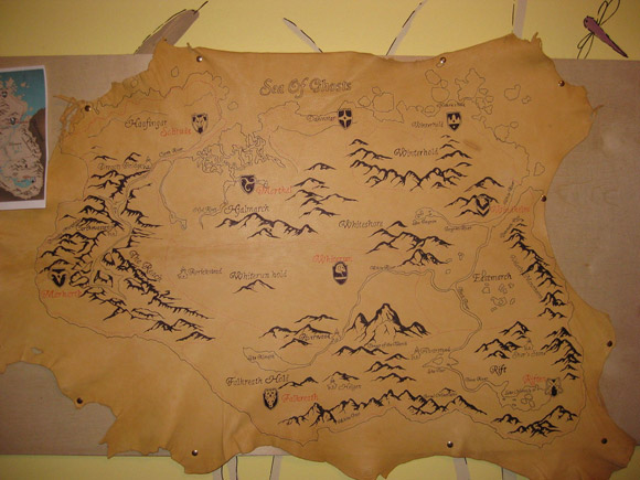 Skyrim Leather Map Hand Painted by Draakan aka Charles Bonnell