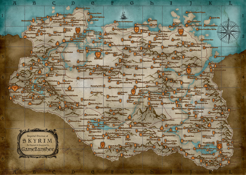 Skyrim Map - Over 25 Different Maps of Skyrim to Map Out ... on elder scrolls tamriel map, modders skyrim map, skyrim collector's edition map, uesp skyrim map, google skyrim map, the elder scrolls v skyrim map, printable skyrim map, skyrim ingame map, minecraft skyrim map, skyrim road map, dark brotherhood skyrim map, drawings of skyrim map,