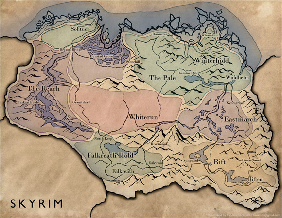 Skyrim Map by Thomas Fischbach