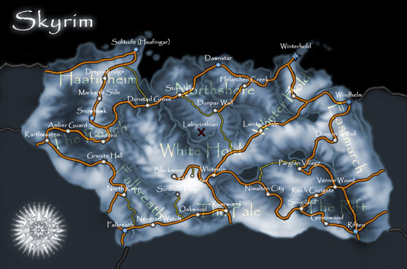 Skyrim Map Regions Gray