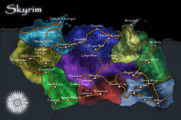 The Elder Scrolls V: Skyrim Map Colored Cities and Regions