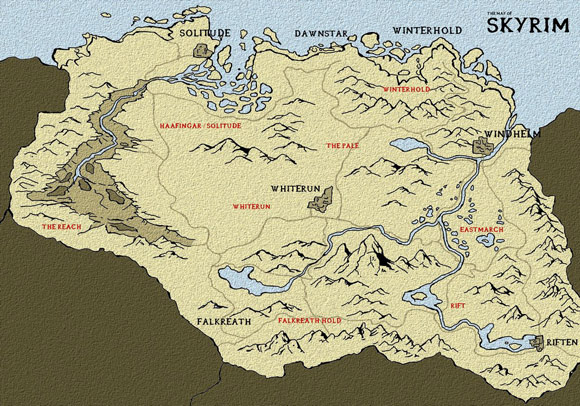 Skyrim Map by The One Pistol