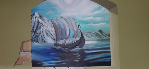 Viking ship mural in Timo's home