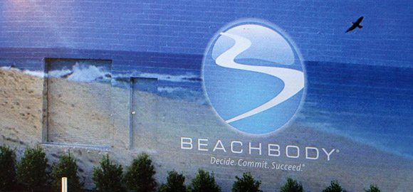 Beachbody volleyball court at corporate headquarters in Santa Monica