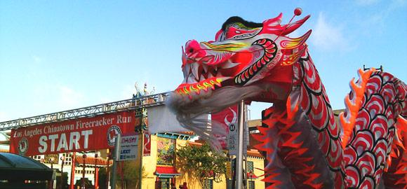 L.A. Chinatown Firecracker Run Dragon
