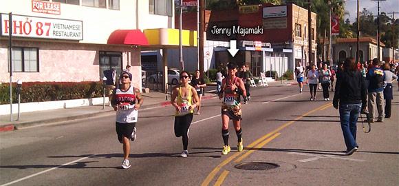 Jenny on final stretch to Firecracker 10k run finish line