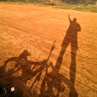 Shadow of my bike and me at top of Tapia Canyon