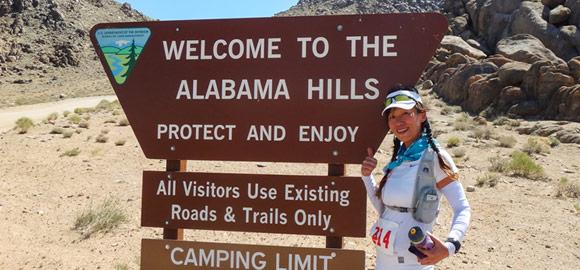Jenny at the Alabama Hills sign