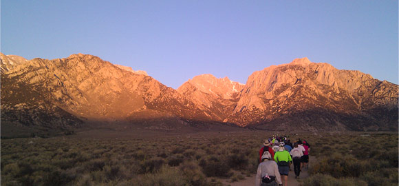 Wild Wild West race start with sunrise on Mt. Whitney