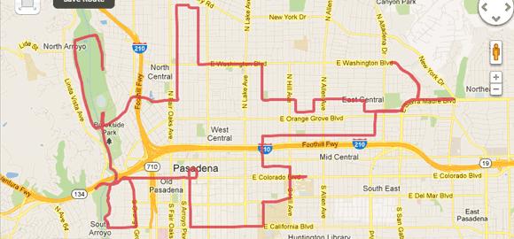 2012 Pasadena Marathon Bike Tour Map and Performance