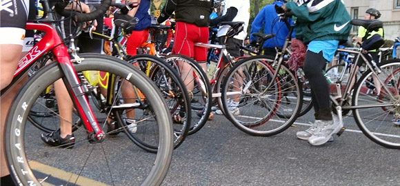 Lots of Road Bikes at the Start Line