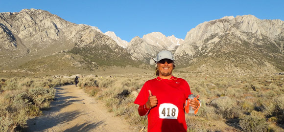 Terry on the trail at Mt. Whitney, epic view!