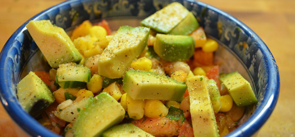 Raw Vegetable Salad with Avocado Topping