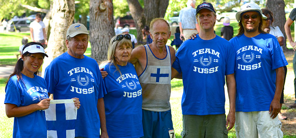 Team Jussi at the finish line