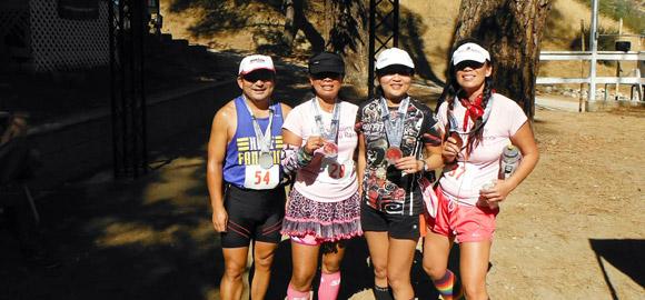 Mark, Yuthana, Lee, and Jenny at Leona Valley Trail Race finish line