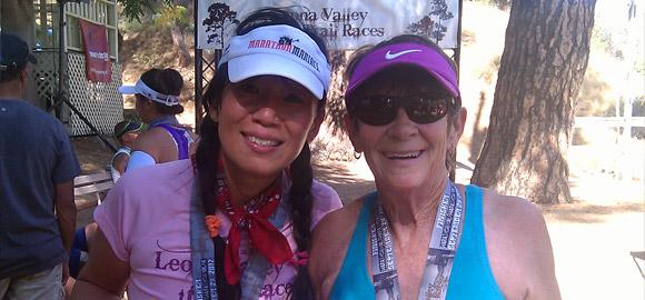 Jenny and Sandy at Leona Valley Trail Race finish line