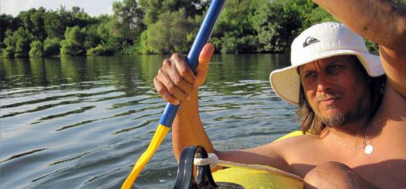 Terry Majamaki rowing in King river