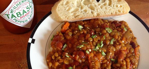 Vegan Lentil Chili Served