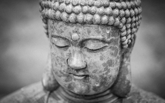 Weathered Buddha Black and White